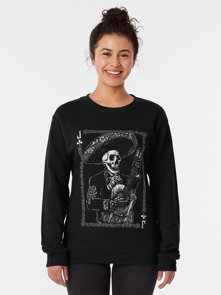 Alternate view of Day of the Dead Jack of Clubs  Pullover Sweatshirt