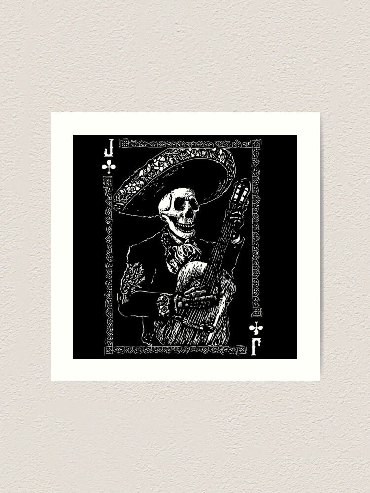 Alternate view of Day of the Dead Jack of Clubs  Art Print