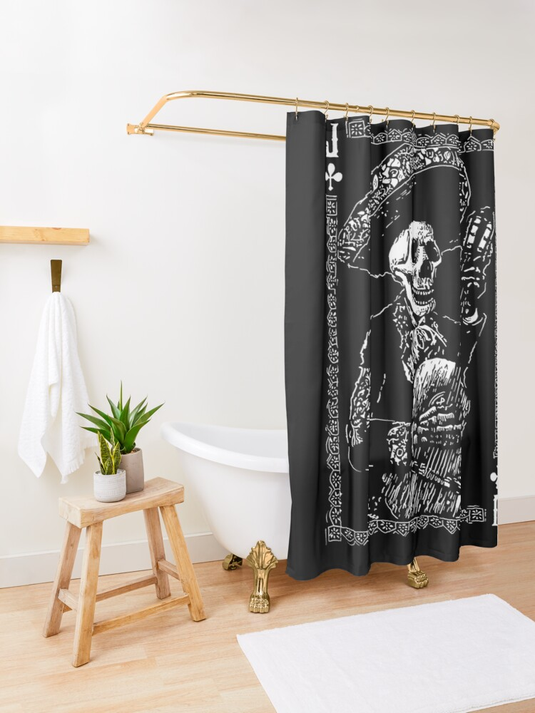 Alternate view of Day of the Dead Jack of Clubs  Shower Curtain