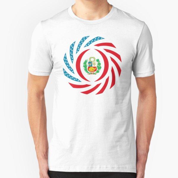 Peruvian American Multinational Patriot Flag Series Slim Fit T-Shirt