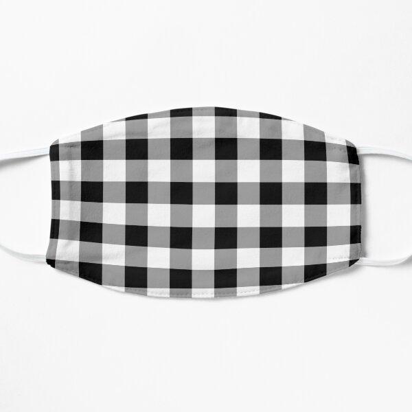 Black Buffalo Plaid Pattern Stripes Flat Mask