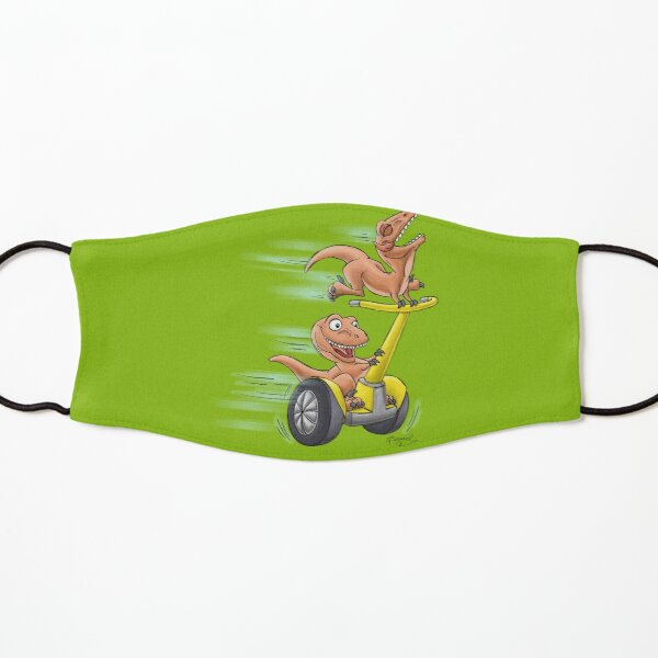 Raptors on a Segway! from Mom Needs a Dinosaur! Book - Green Background Kids Mask