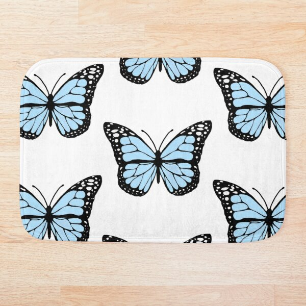cornflower blue butterfly Bath Mat