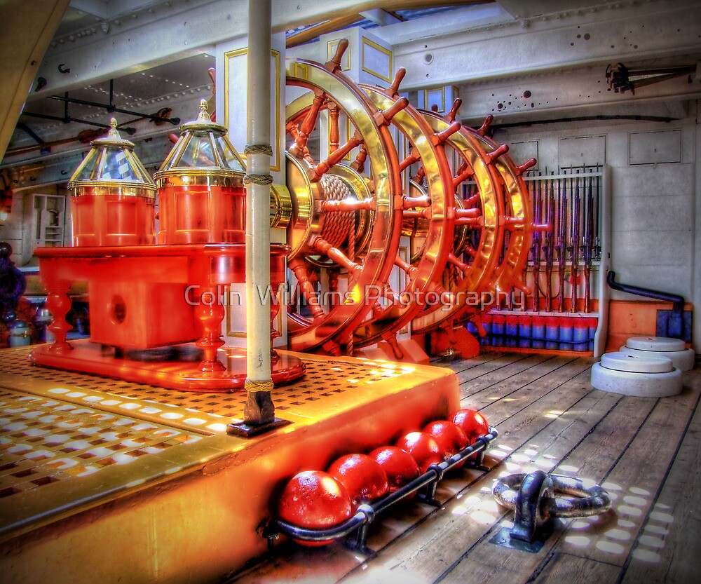 The Helm Below Decks HMS Warrior - HDR by Colin  Williams Photography