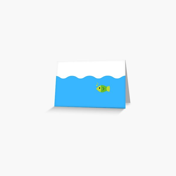 Cute Green Fish Swimming Greeting Card