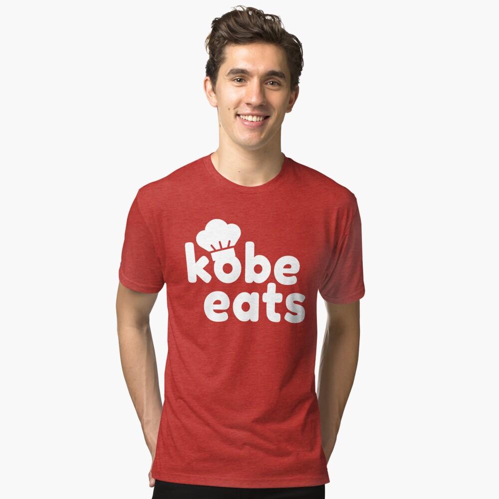 Kobe Eats - White  Tri-blend T-Shirt