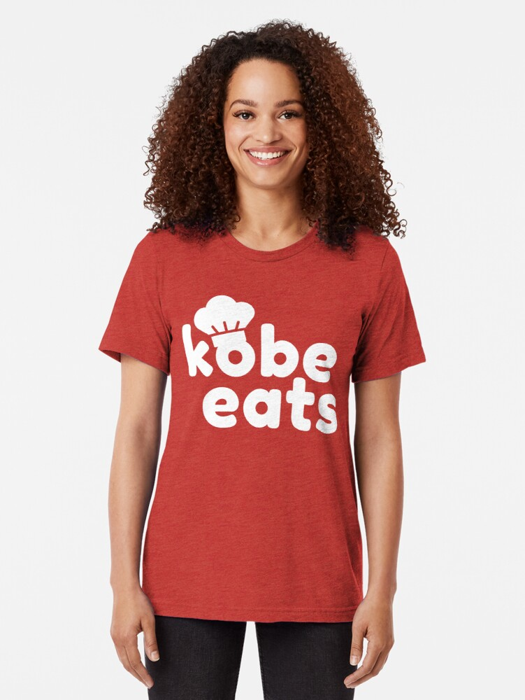 Alternate view of Kobe Eats - White  Tri-blend T-Shirt
