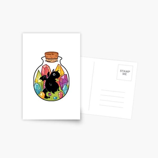 Drache in einer Flasche Postkarte