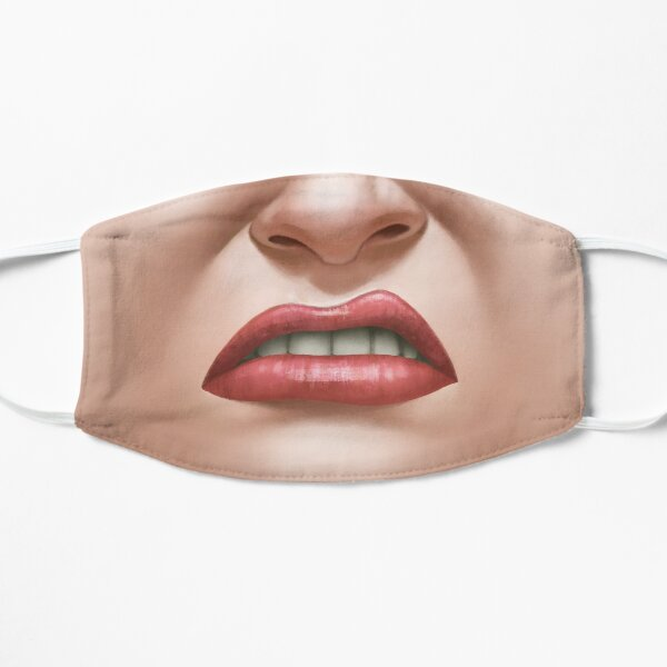 Disgusted woman face mask. Mask