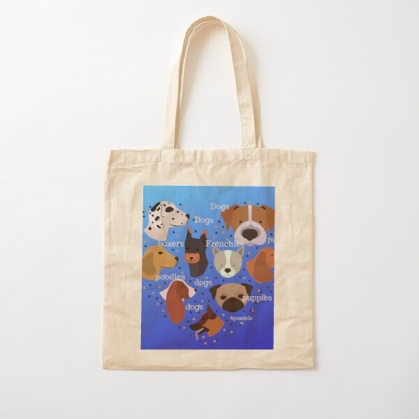Dogs - all breeds of funny cute dogs  in a heart shaped pattern on a blue background  Cotton Tote Bag