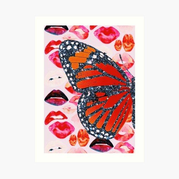 glitter butterfly/lips collage Art Print