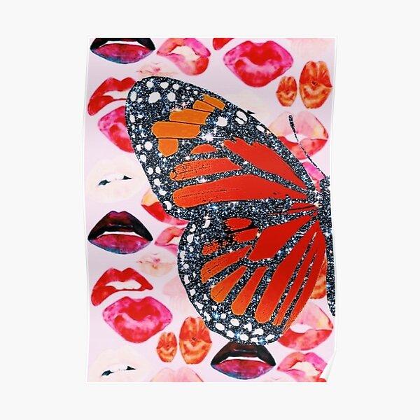 Glitzer Schmetterling / Lippen Collage Poster