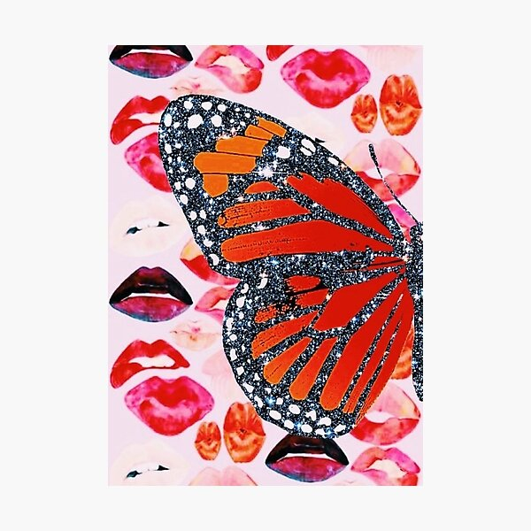glitter butterfly/lips collage Photographic Print