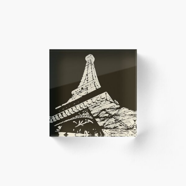 drawing Eiffel Tower, Paris in black and white Acrylic Block
