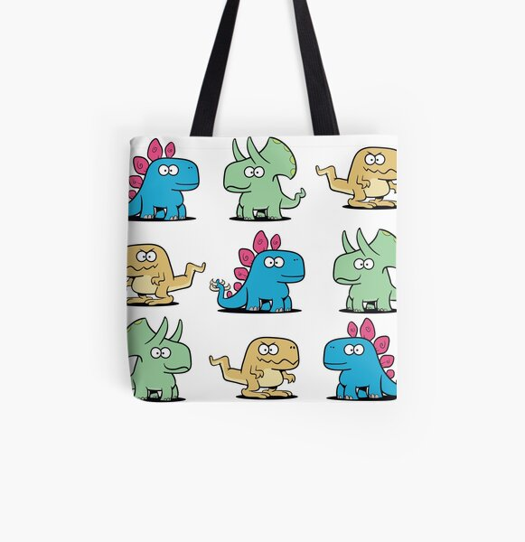 Cute Dinosaurs Pattern All Over Print Tote Bag