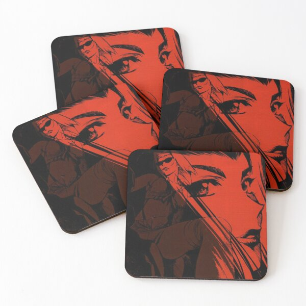 Cowboy Bebop - Faye, Red Coasters (Set of 4)