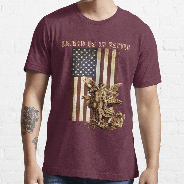 St Michael the Archangel Angel Catholic Saint United States Flag US Essential T-Shirt