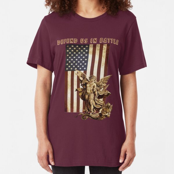St Michael the Archangel Angel Catholic Saint United States Flag US Slim Fit T-Shirt