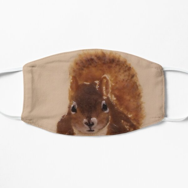 Cute Red Squirrel Face Flat Mask