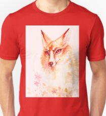 Golden Flower Fox Watercolor T-Shirt