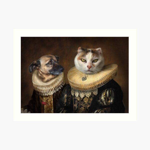 Dog and Cat Portrait - Roxy and Slinky Art Print