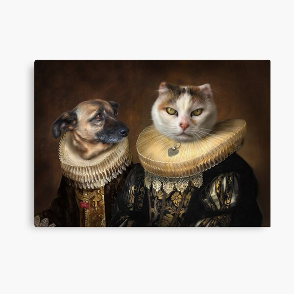 Dog and Cat Portrait - Roxy and Slinky Canvas Print