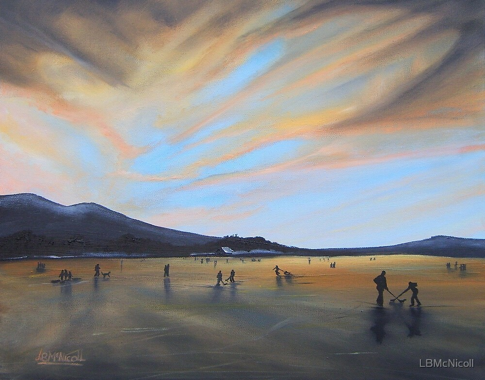 """""""Bavaria Inspired by Dixon.  Enjoying Fading Light on Frozen Lake Staffel"""" (Image of an Oil Painting) by LBMcNicoll"""