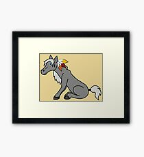 Thanksgiving Gray Horse with Turkey Feathers Framed Print