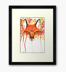 Autumn Red Fox Watercolor Framed Print
