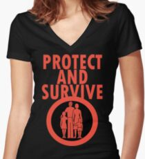 Protect And Survive Boy Women's Fitted V-Neck T-Shirt