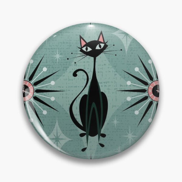 Mid-century atomic kitty brooch in Teal