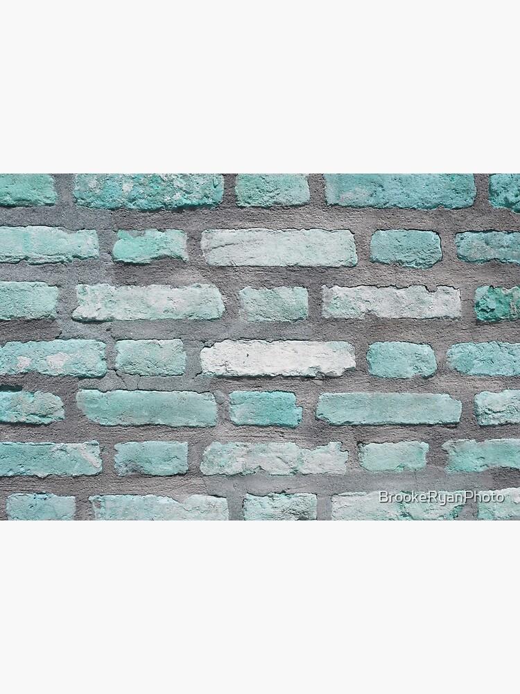 Aqua and Gray Brick Wall by BrookeRyanPhoto
