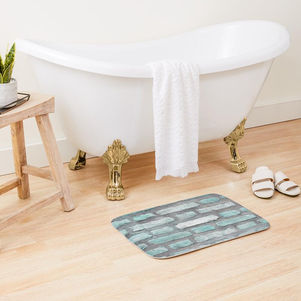 Aqua and Gray Brick Wall Bath Mat