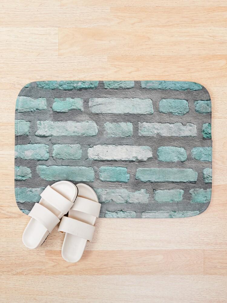 Alternate view of Aqua and Gray Brick Wall Bath Mat