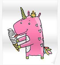 Unicorn and ice cream Poster