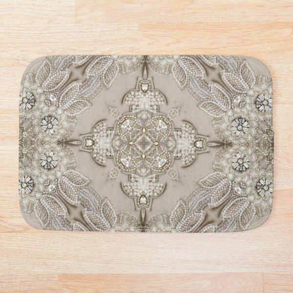 vintage Rhinestone pearl glamorous beige  lace Bath Mat