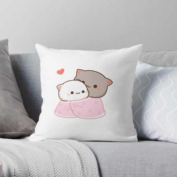 Peach and Goma Cuddling - Mochi Peach Cat Throw Pillow