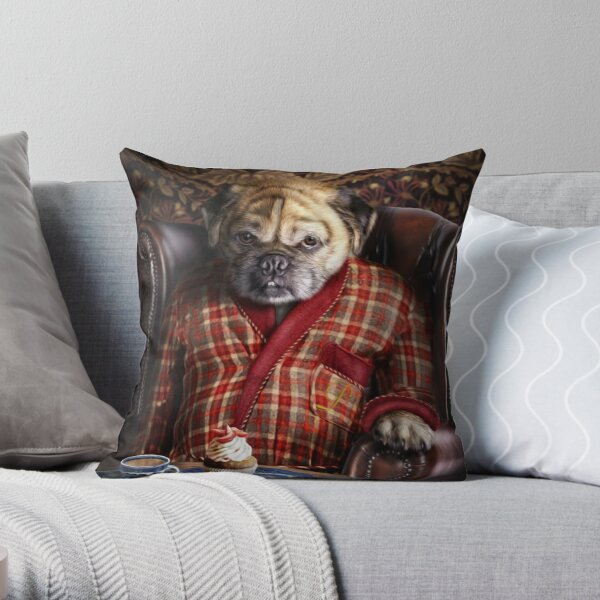 Pug Dog Portrait - Pudgy  Throw Pillow