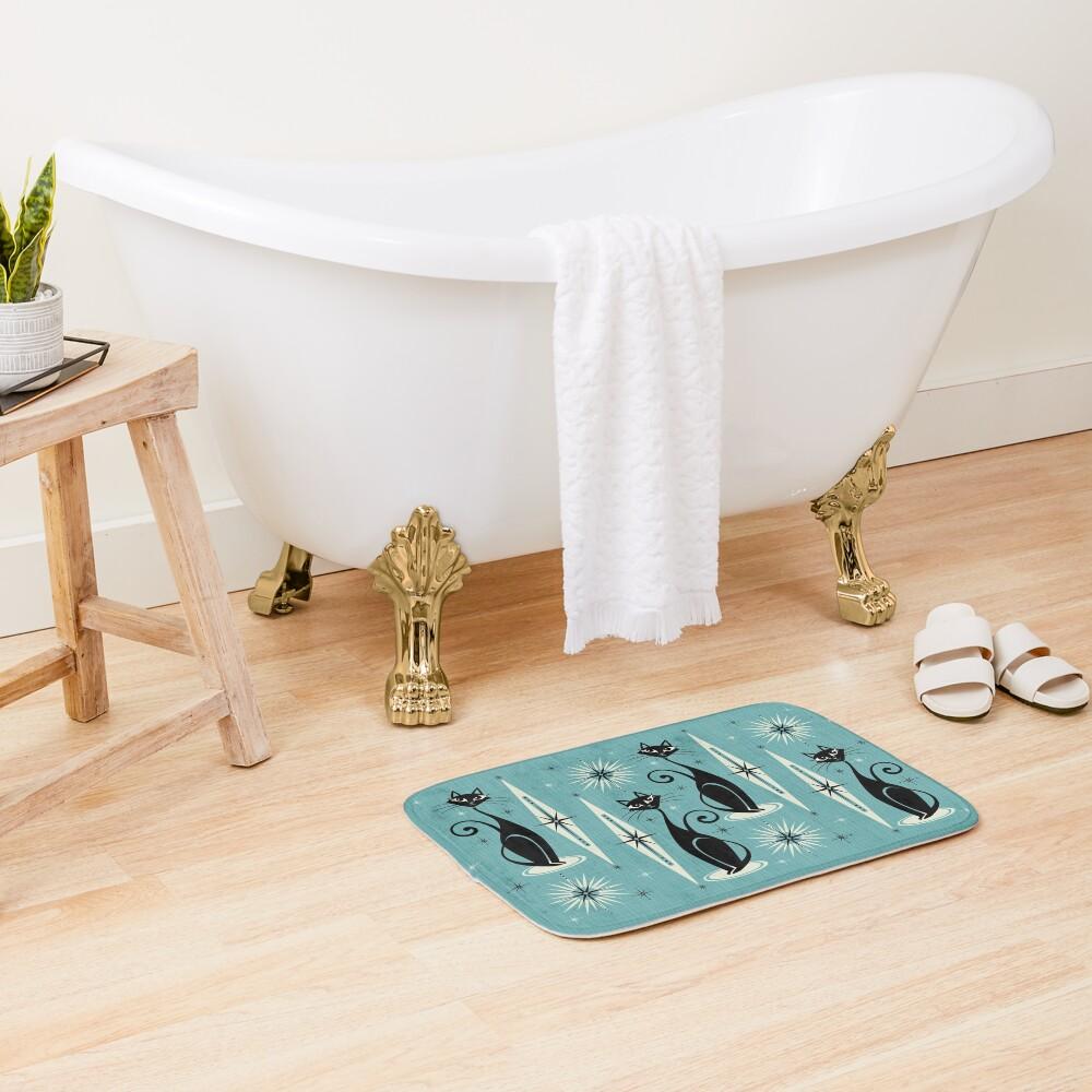 Mid Century Meow on Blue Bath Mat