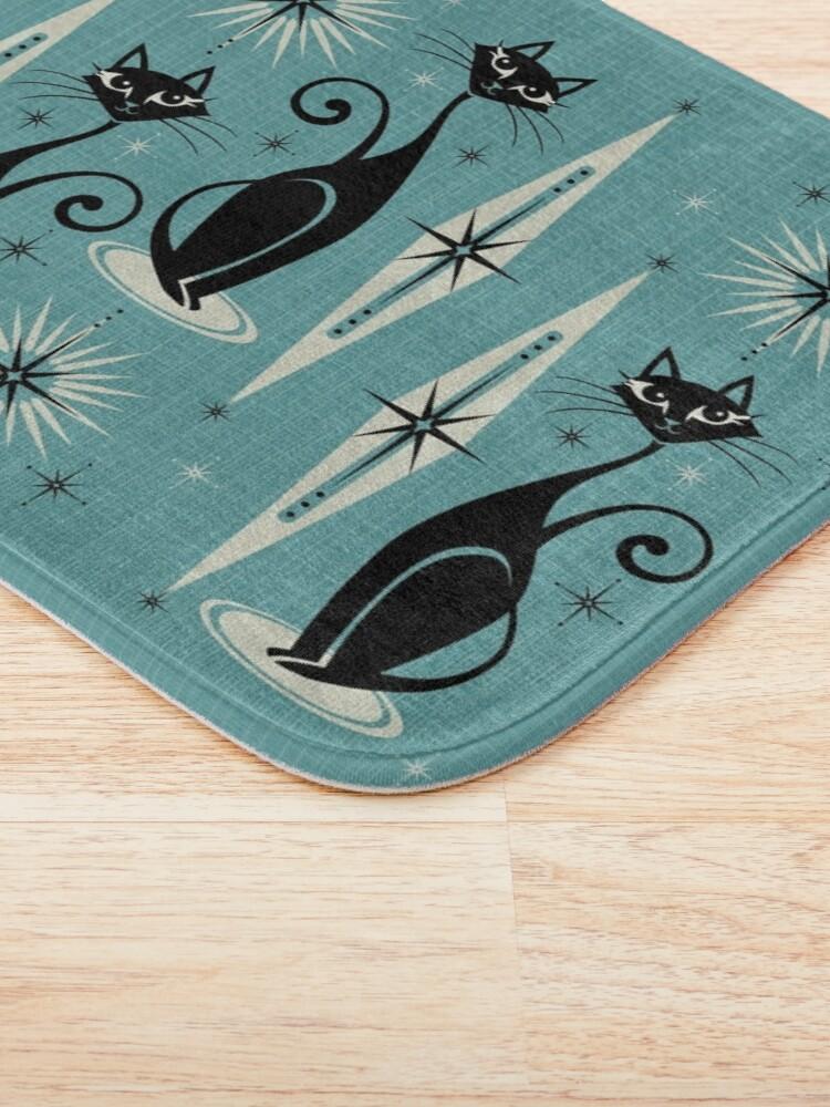 Alternate view of Mid Century Meow on Blue Bath Mat