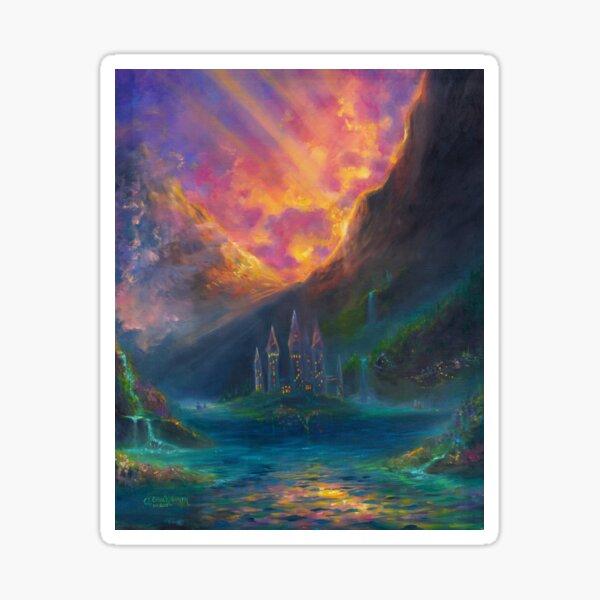 Fantasy Castle Sunset Painting Sticker