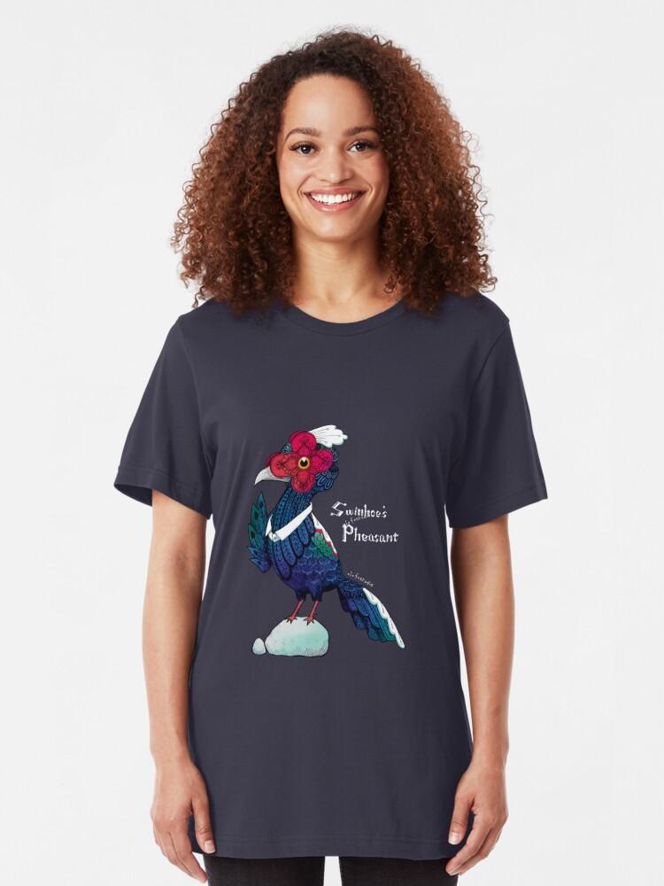 Alternate view of Swinhoes Pheasant - Black Slim Fit T-Shirt