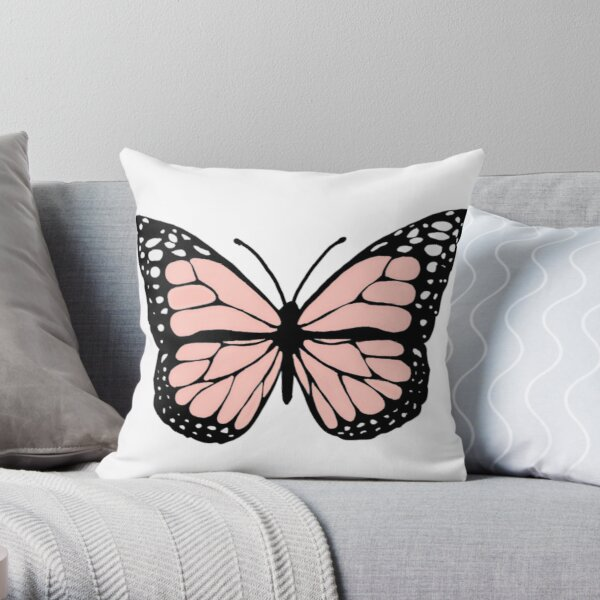 light pink butterfly Throw Pillow