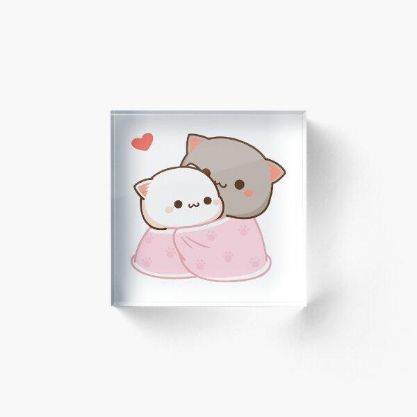 Peach and Goma Cuddling - Mochi Peach Cat Acrylic Block