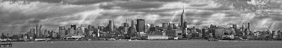 City - Skyline - Hoboken, NJ - The ever changing skyline - BW by Michael Savad