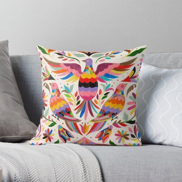 Otomi birds Throw Pillow