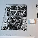 Arbre au carré - Tree in the square + linocut  by Pascale Baud