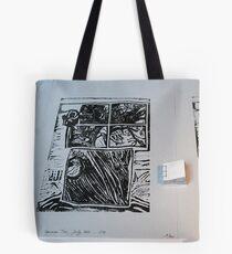 Arbre au carré - Tree in the square + linocut  Tote Bag