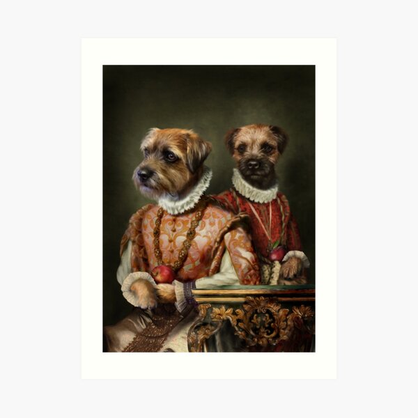 Border Terrier Dog Portrait - Holly and Ivy Art Print