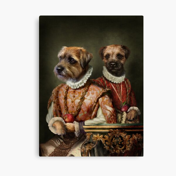 Border Terrier Dog Portrait - Holly and Ivy Canvas Print